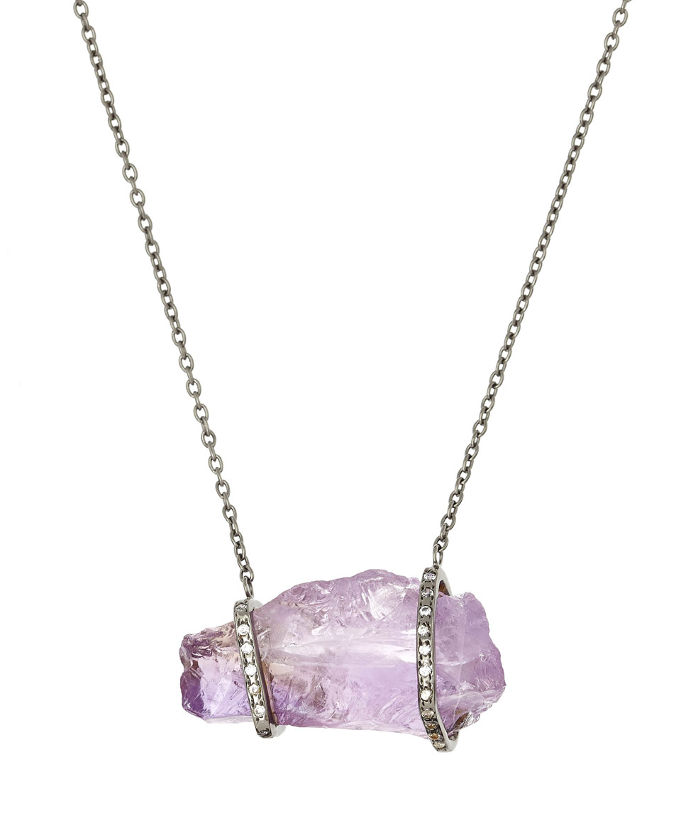Didi Blackened Silver Amethyst Nugget Necklace in Metallic