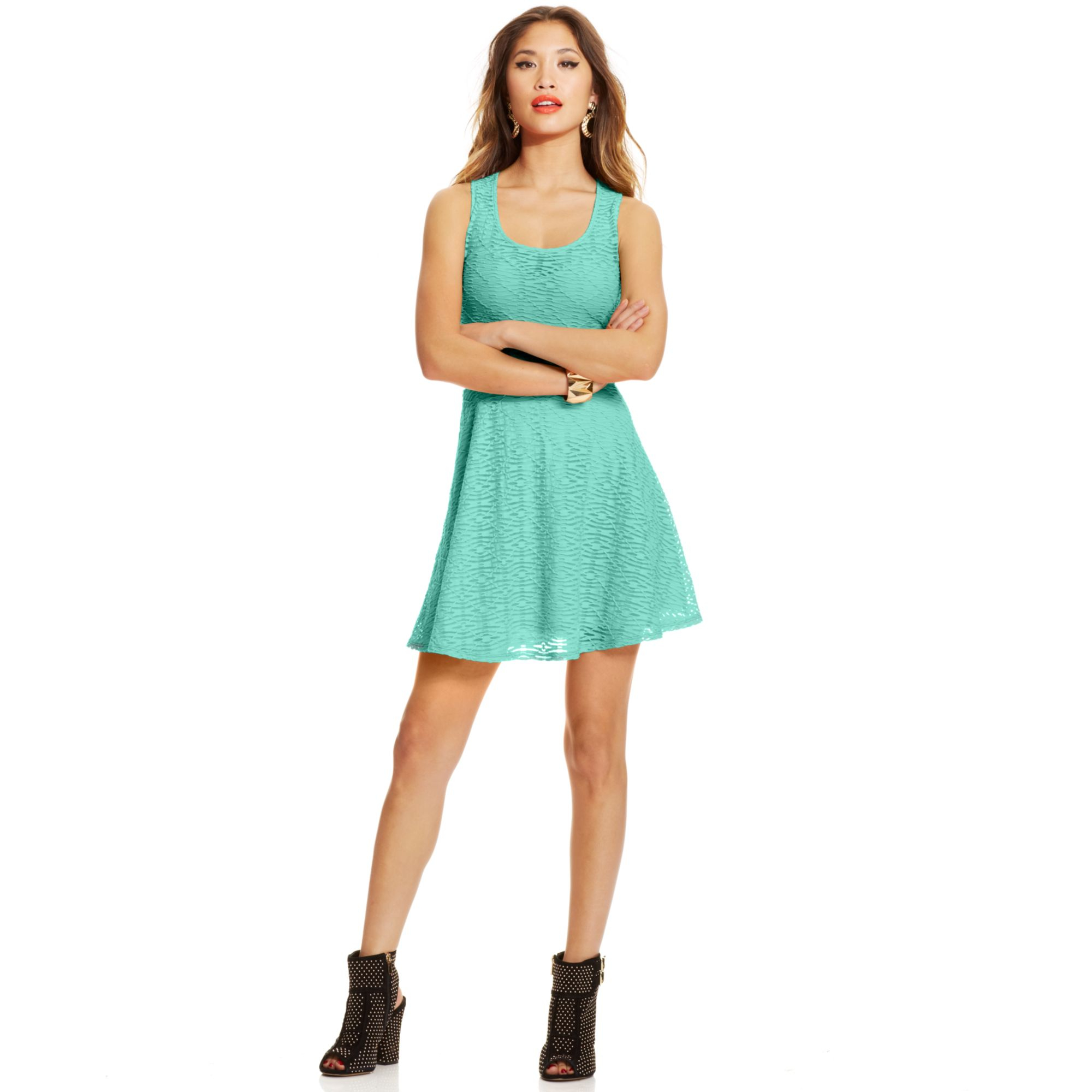 Lyst - Material Girl Juniors Textured Illusion Skater Dress in Green