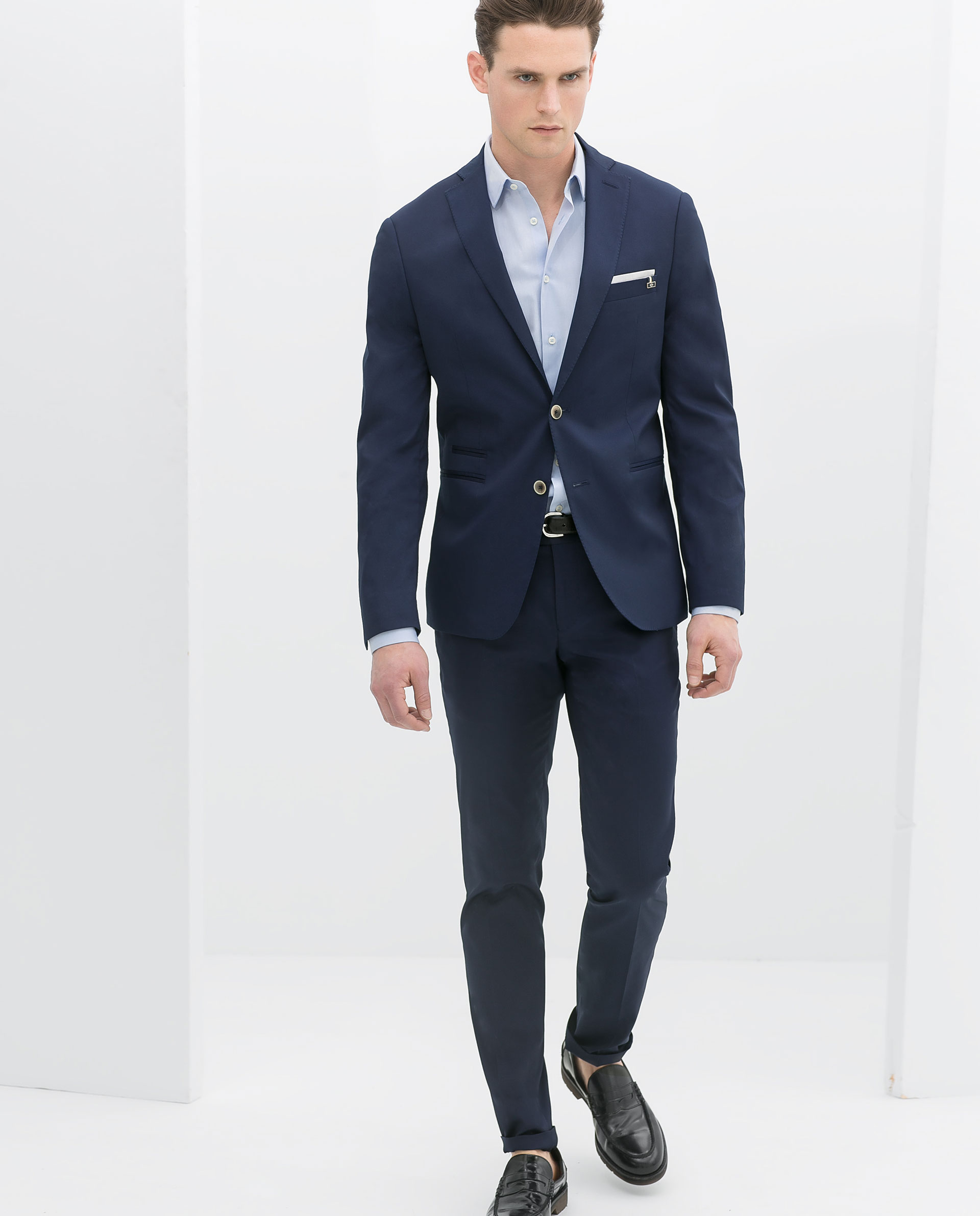 Zara Blue Suit Trousers In Blue For Men | Lyst