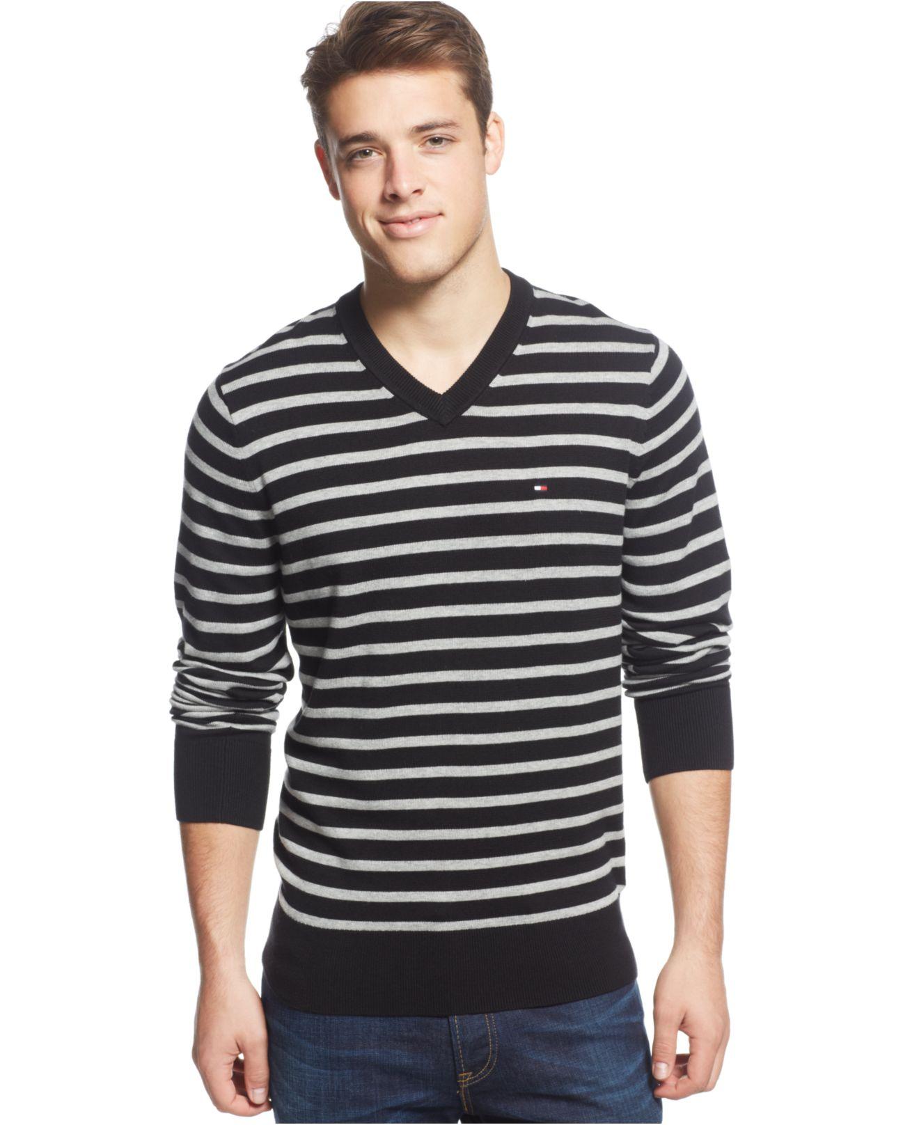 tommy hilfiger signature striped v neck sweater in black. Black Bedroom Furniture Sets. Home Design Ideas