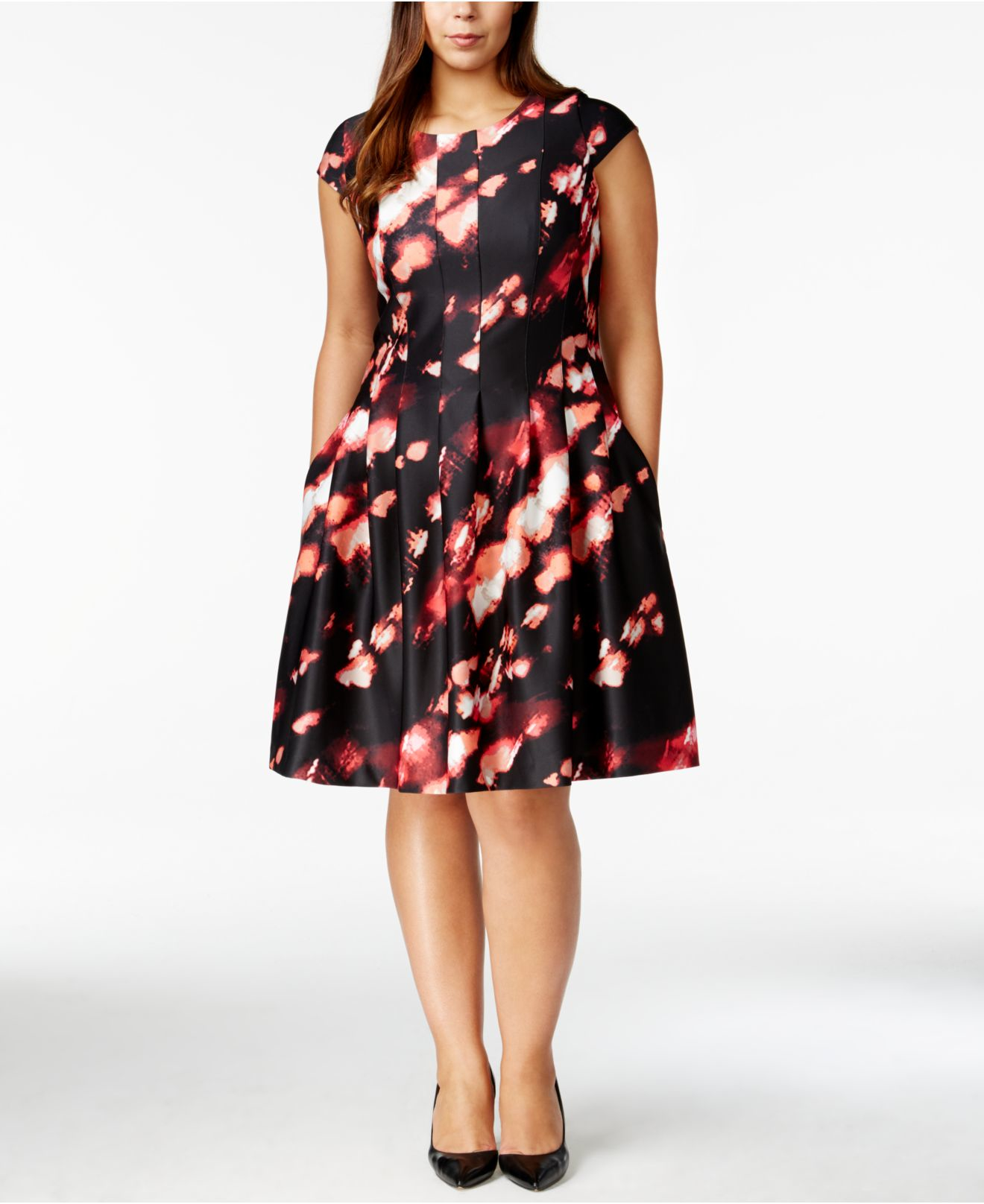Calvin klein Plus Size Printed Fit & Flare Dress | Lyst