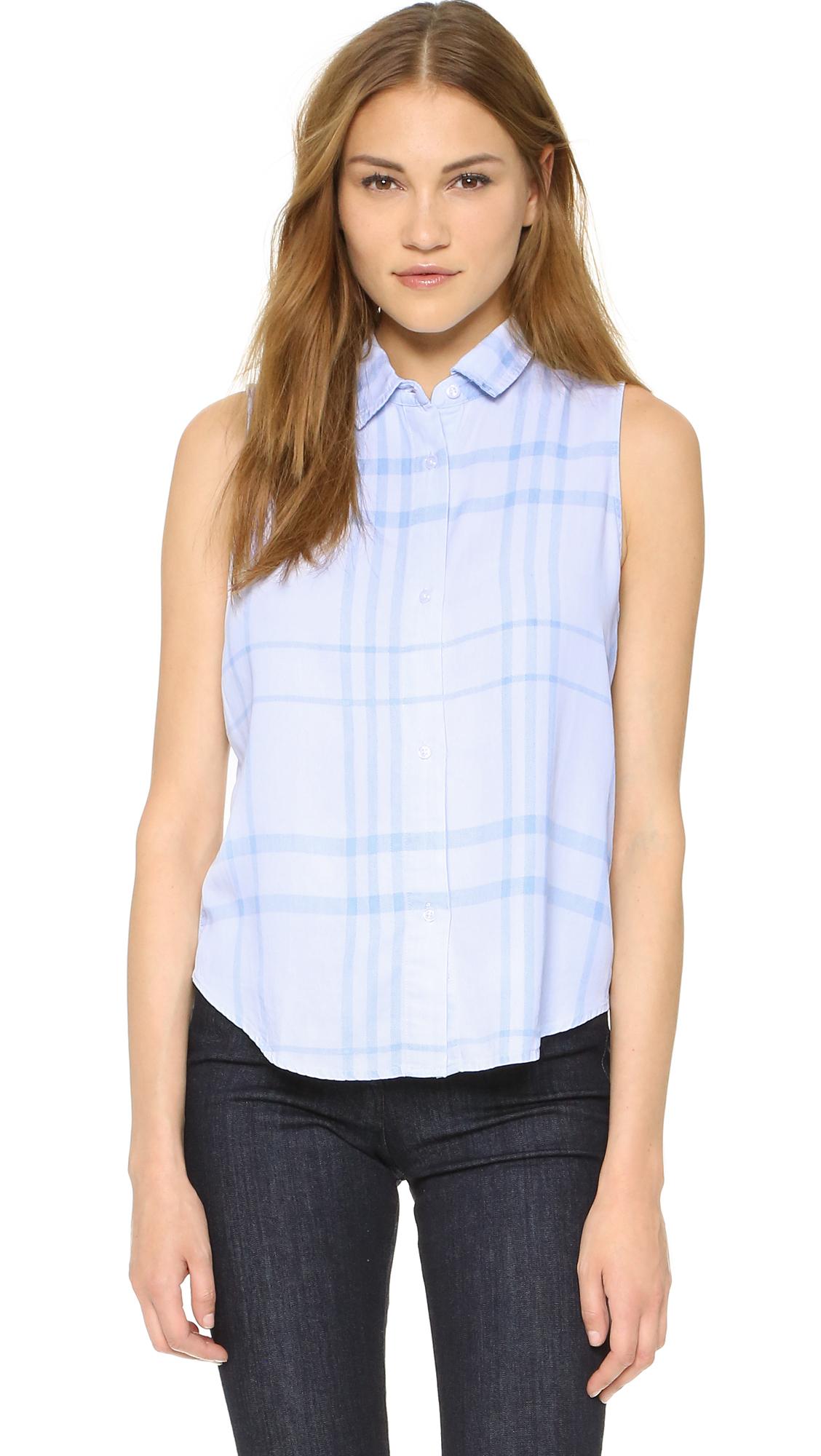 Lyst rails mila tank in blue for Lightweight plaid shirt womens