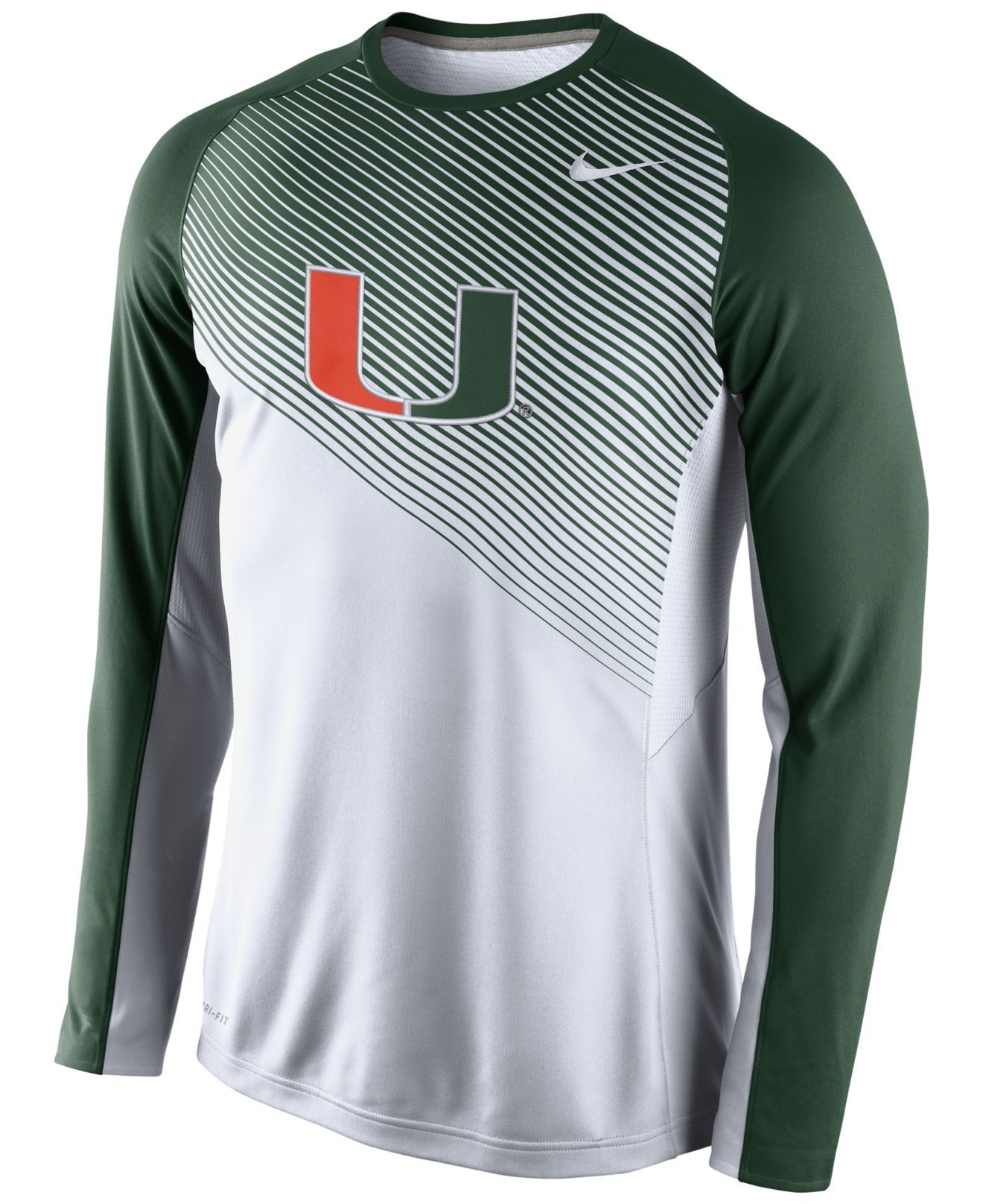 Nike Men'S Long-Sleeve Miami Hurricanes Fearless Shootaround T ...
