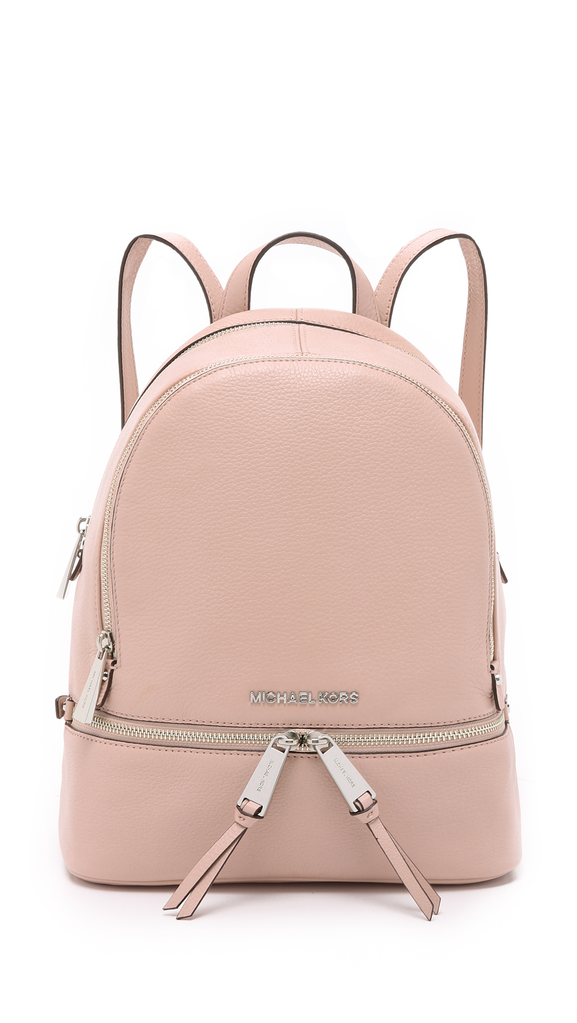 53f126eec0bf ... zip extra small studded brown backpack d4582 a77c2; best lyst michael  michael kors rhea small backpack ballet in pink b78ed fae41