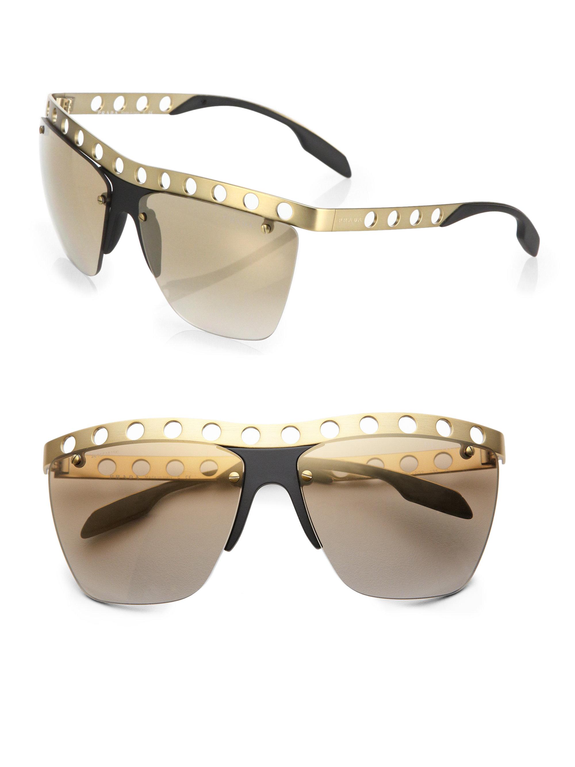 a734b539d32 Prada Square Rimless Sunglasses