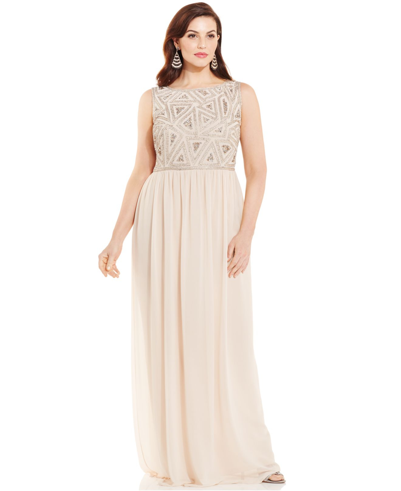 Lyst - Adrianna Papell Plus Size Embellished Gown in Pink