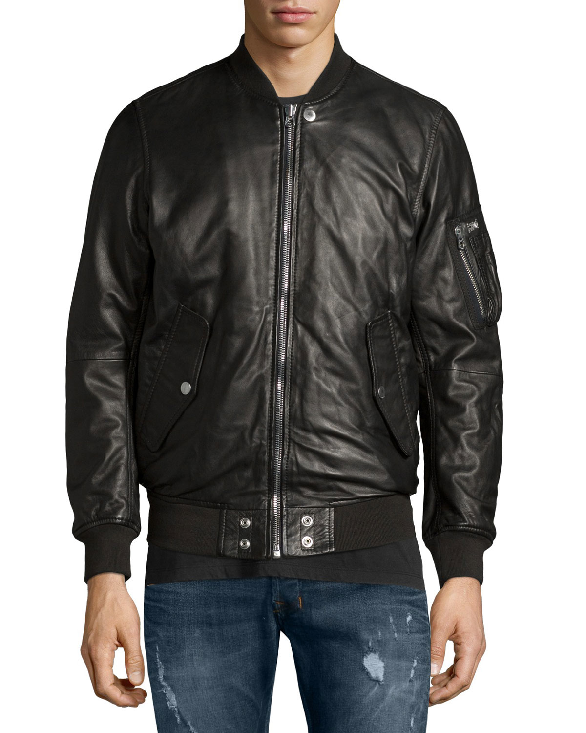 Lyst Diesel Leather Bomber Jacket In Black For Men