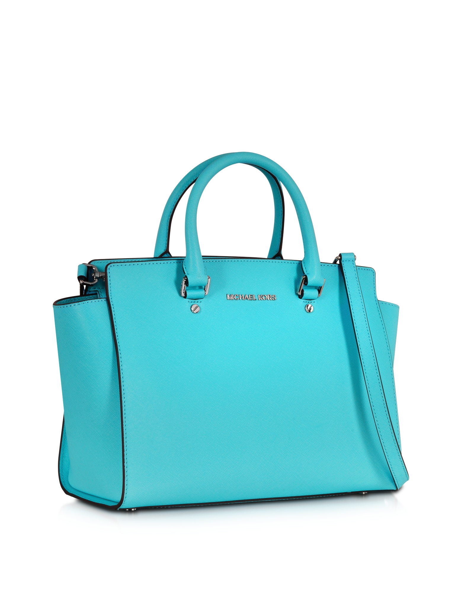 Lyst - Michael Kors Selma Aquamarine Saffiano Leather Large Top-Zip ... 27110e2601