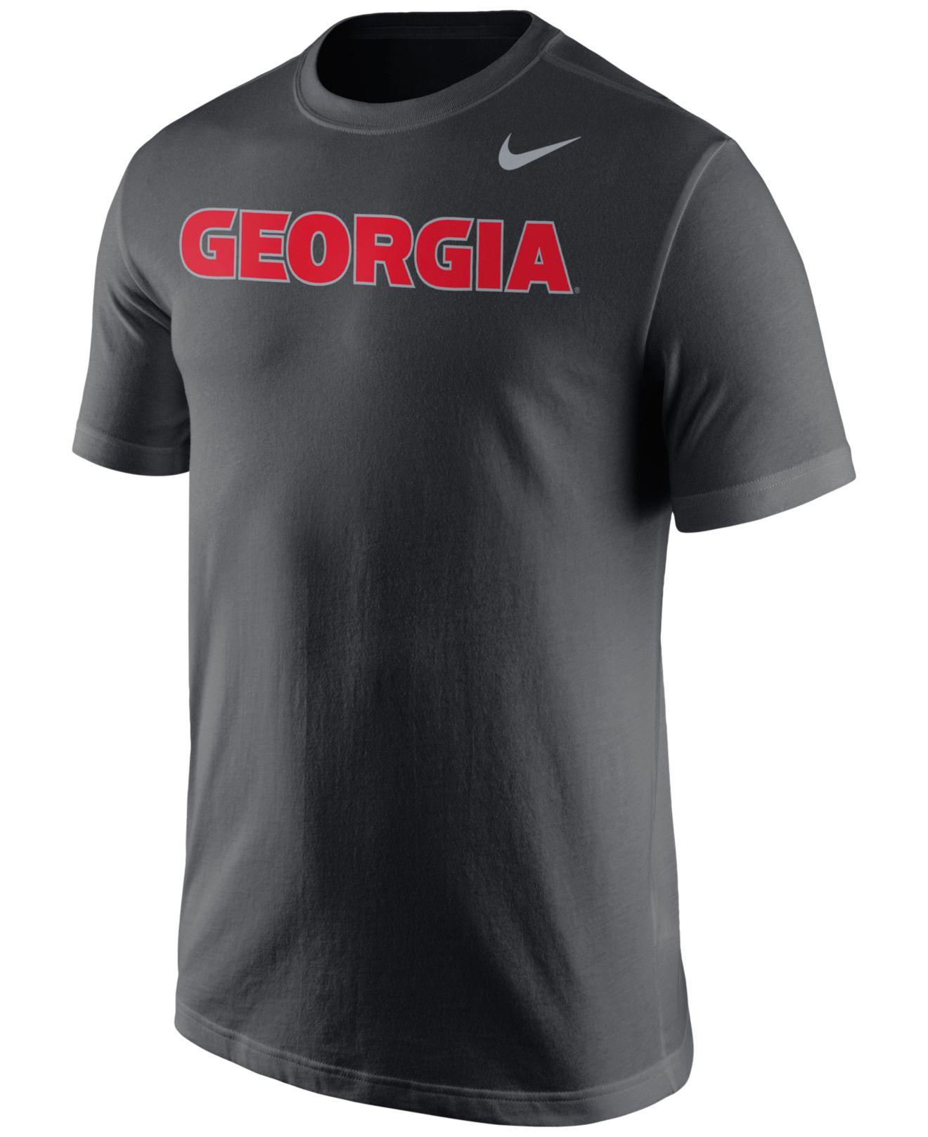 Nike Men 39 S Georgia Bulldogs Wordmark T Shirt In Gray For