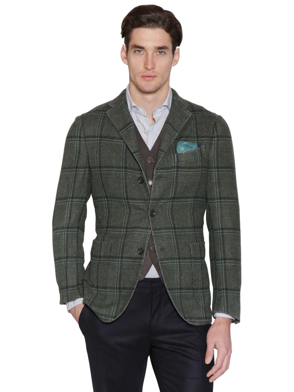 Boglioli Prince Of Wales Cashmere Blend K Jacket in Green for Men