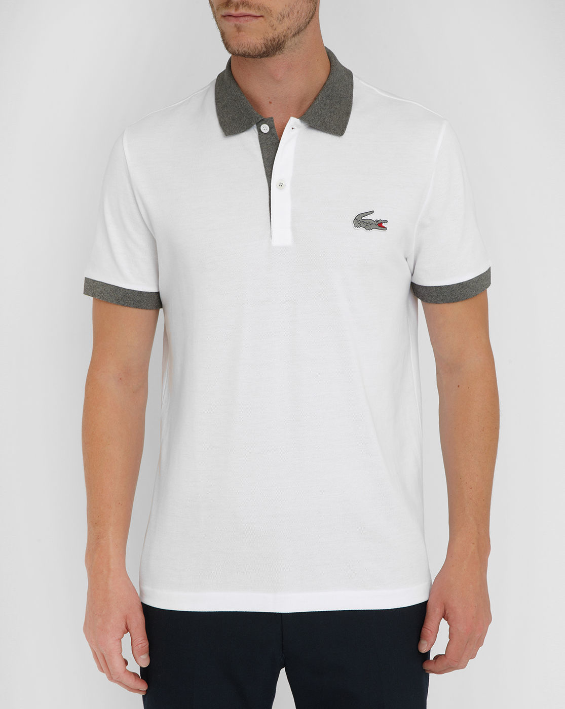 lacoste white chest logo polo shirt menlook 5 year. Black Bedroom Furniture Sets. Home Design Ideas