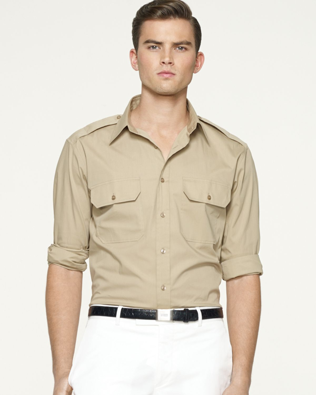 Lyst Ralph Lauren Black Label Military Stretchpoplin Dress Shirt
