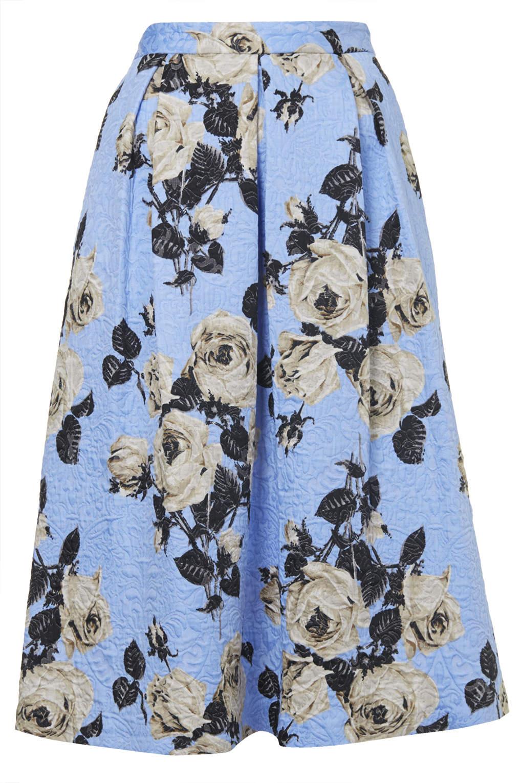 topshop texture midi skirt in blue lyst