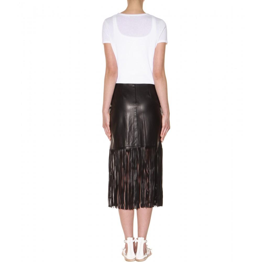 Tamara Mellon Fringed Leather Skirt in Black