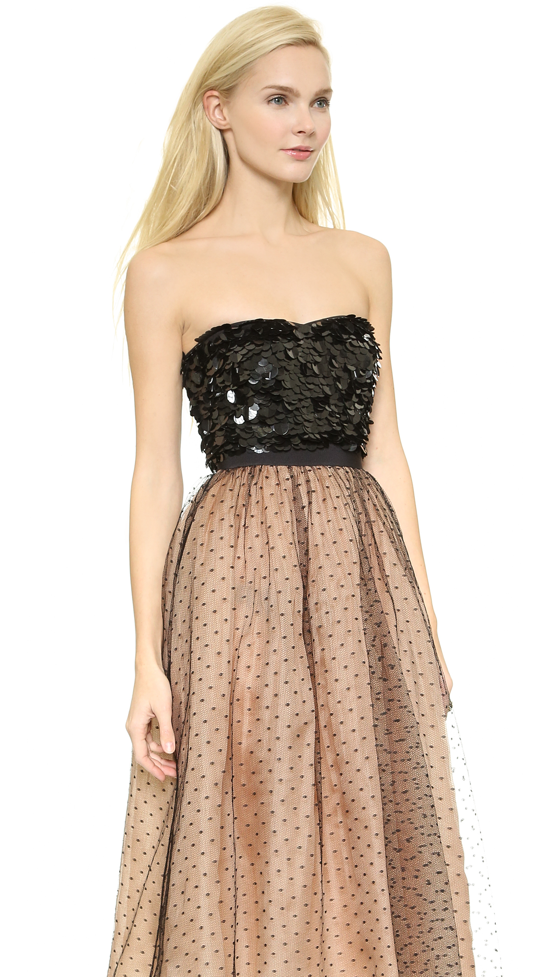 Lyst Red Valentino Sequin Embellished Strapless Dress