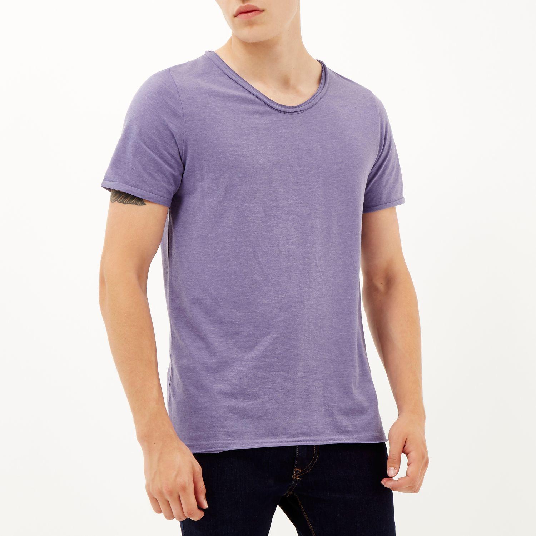 River Island Purple Low Scoop Neck Short Sleeve T Shirt In