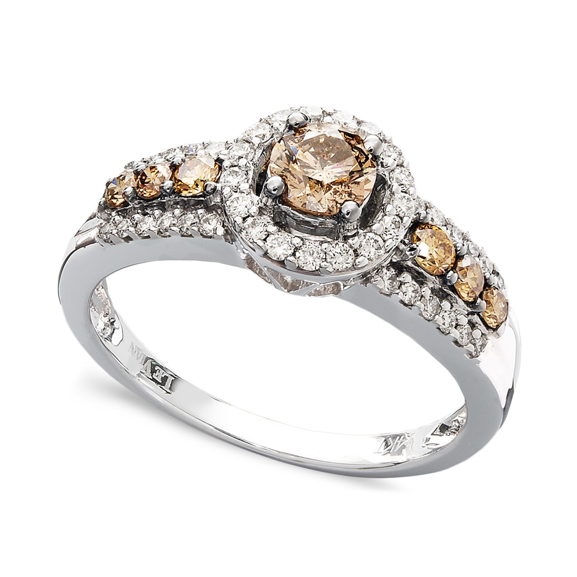 le vian chocolate and white diamond ring in 14k white gold. Black Bedroom Furniture Sets. Home Design Ideas