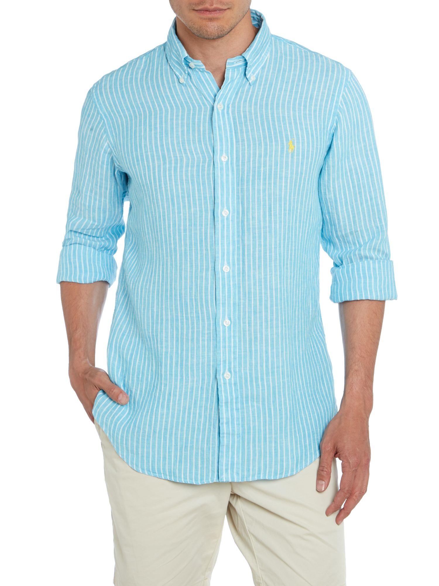 Polo ralph lauren long sleeve striped linen shirt in blue for Linen long sleeve shirt