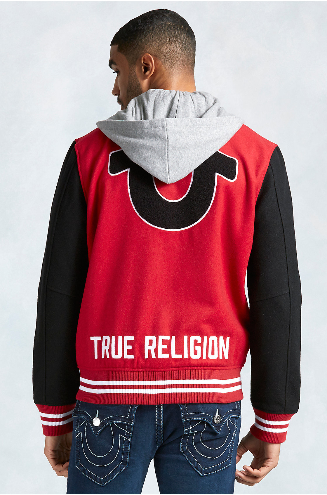 true religion hand picked varsity hooded mens jacket in red for men lyst. Black Bedroom Furniture Sets. Home Design Ideas