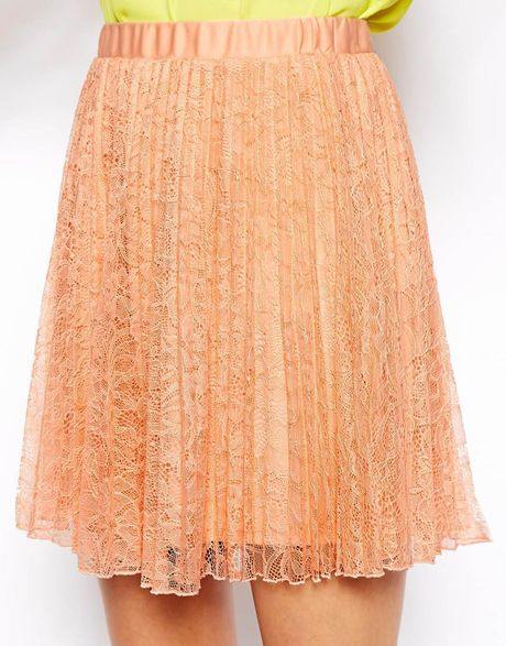 asos pleated lace skater skirt in orange lyst