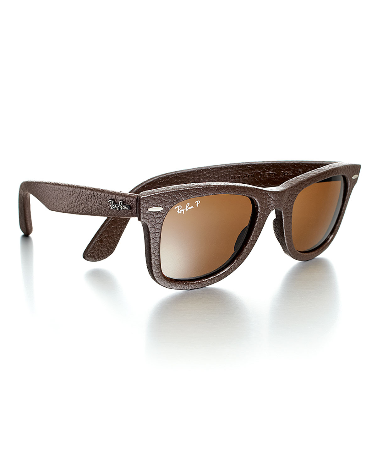 ray ban womens leatherwrapped wayfarer sunglasses brown in brown for men lyst. Black Bedroom Furniture Sets. Home Design Ideas