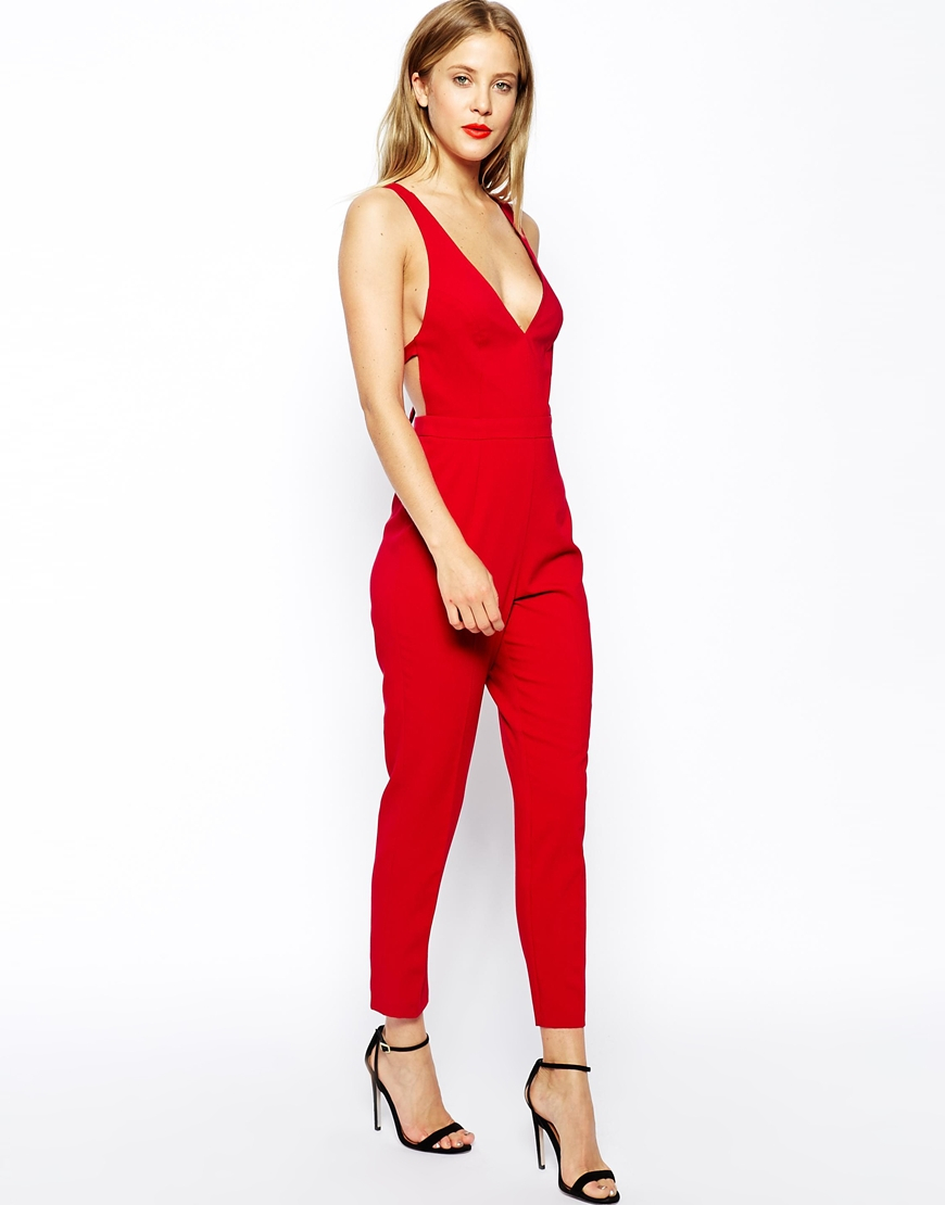 Asos Jumpsuit With Bow Back in Red | Lyst
