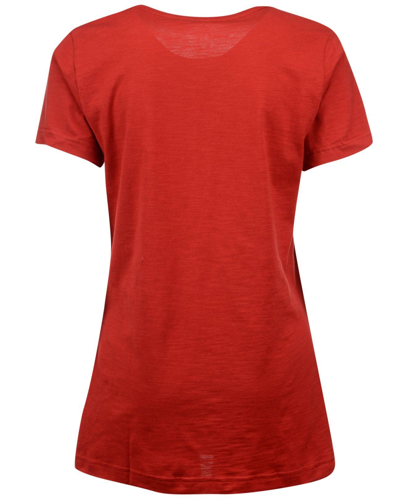 Lyst adidas women 39 s louisville cardinals stripe stack t for Louisville t shirt printing