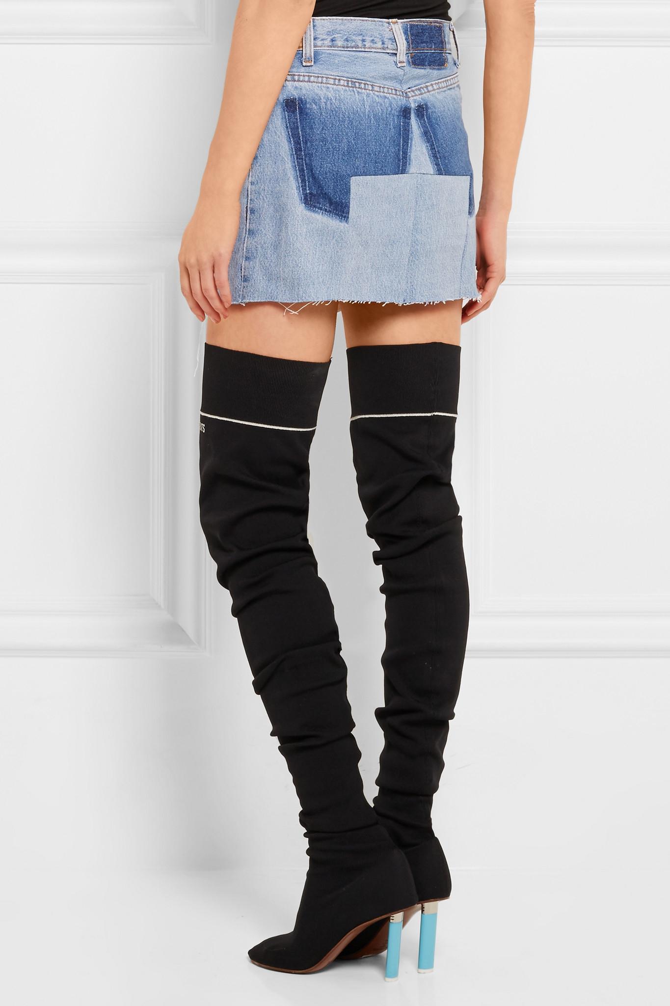 vetements denim mini skirt in blue mid denim lyst