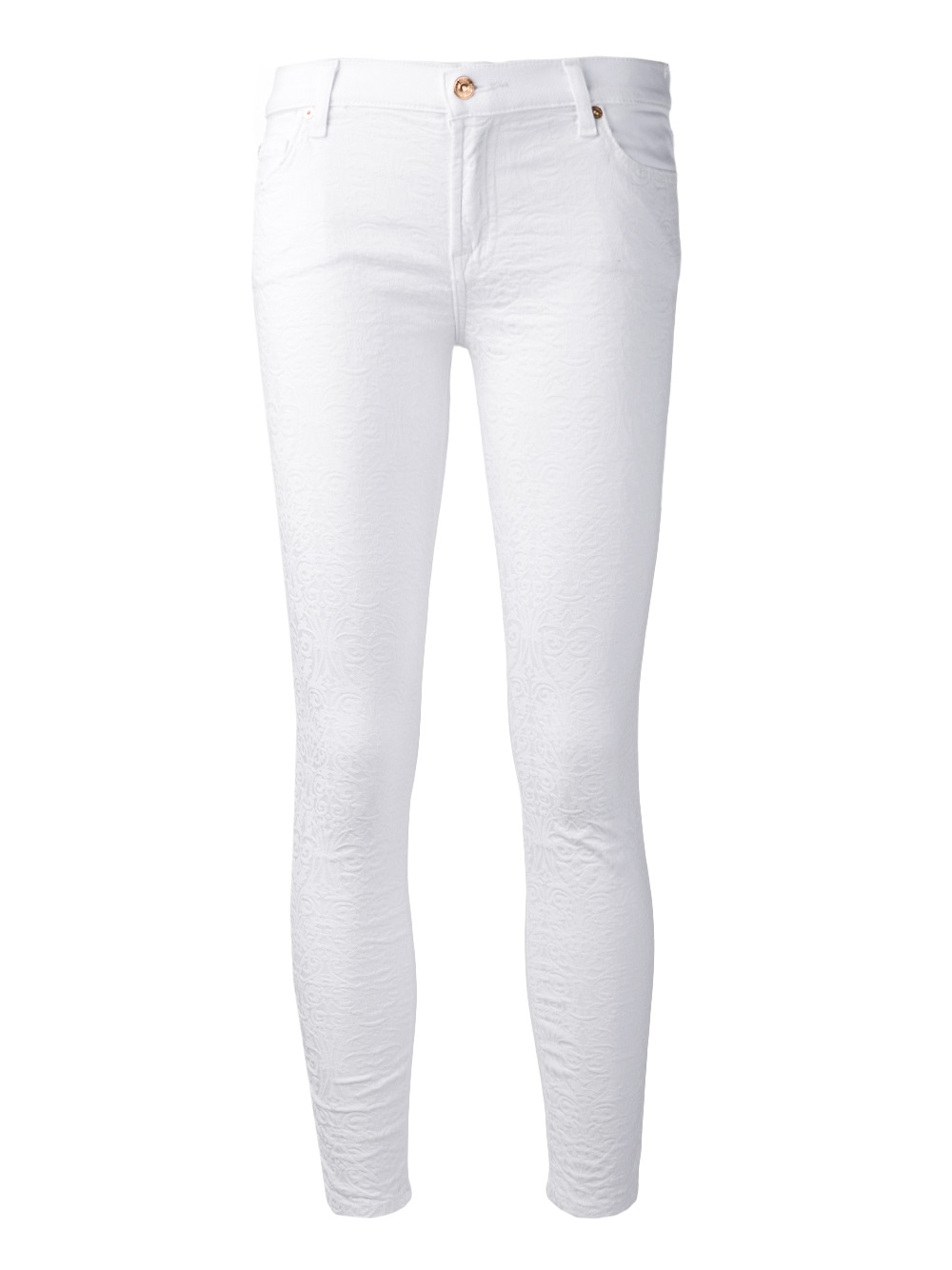 7 for all mankind Textured Front Skinny Jeans in White | Lyst