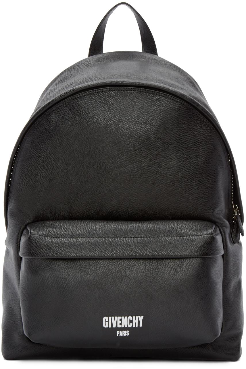 Givenchy Black Leather Logo Backpack In Black For Men Lyst