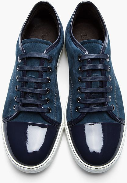 lanvin navy twotone patent and suede tennis shoes in blue