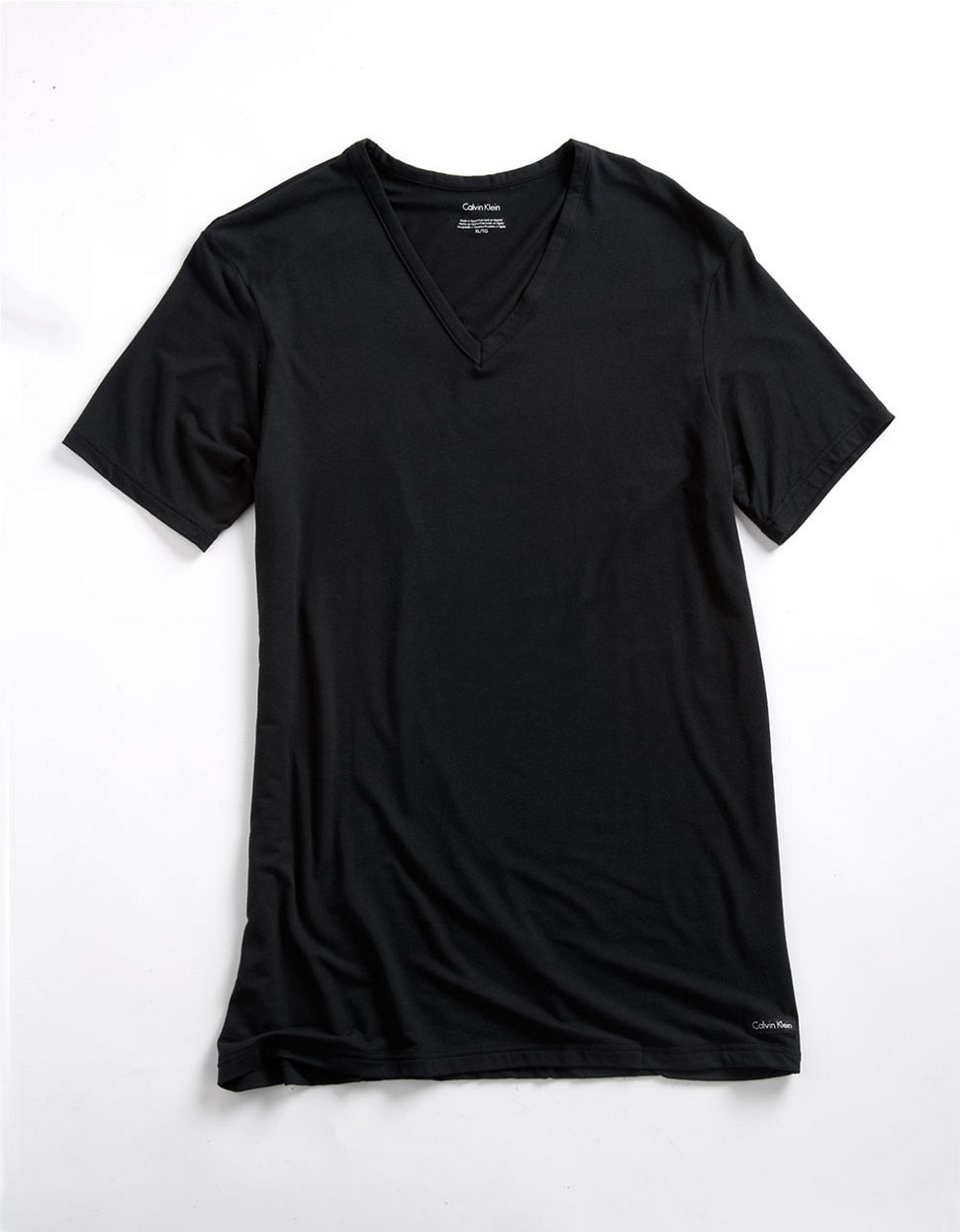Calvin klein micro modal v neck t shirt in black for men for Modal t shirts mens