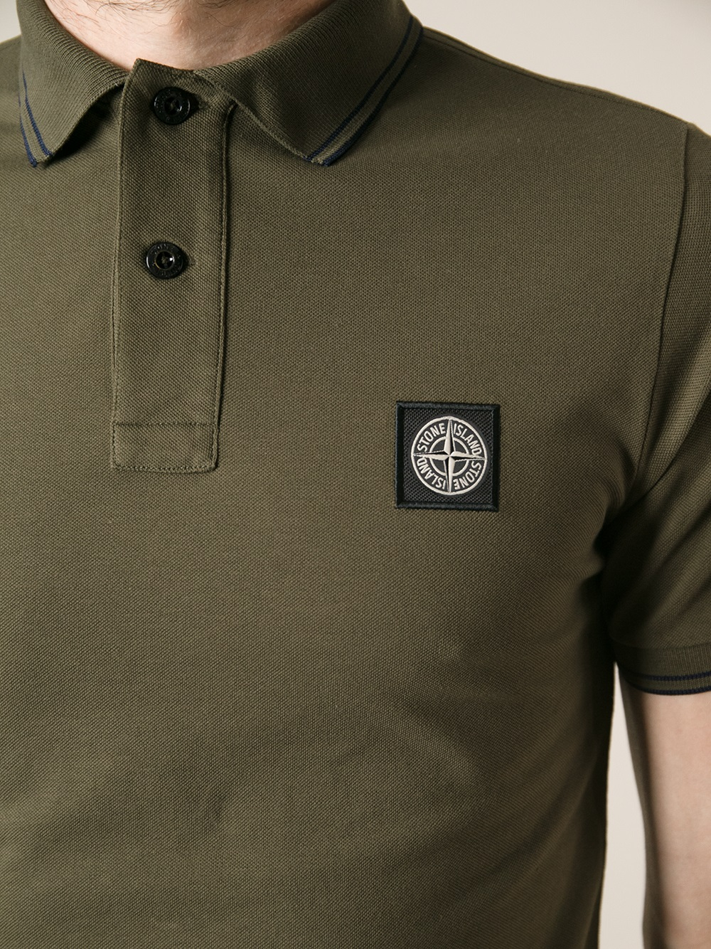 lyst stone island short sleeve polo shirt in green for men. Black Bedroom Furniture Sets. Home Design Ideas