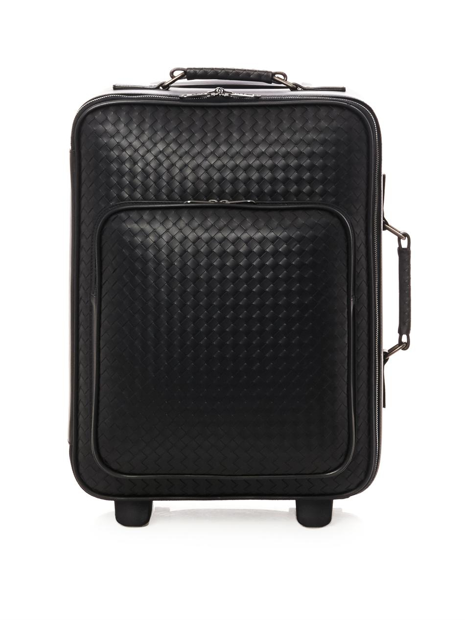 Bottega veneta Intrecciato Leather Trolley Suitcase in Black for ...