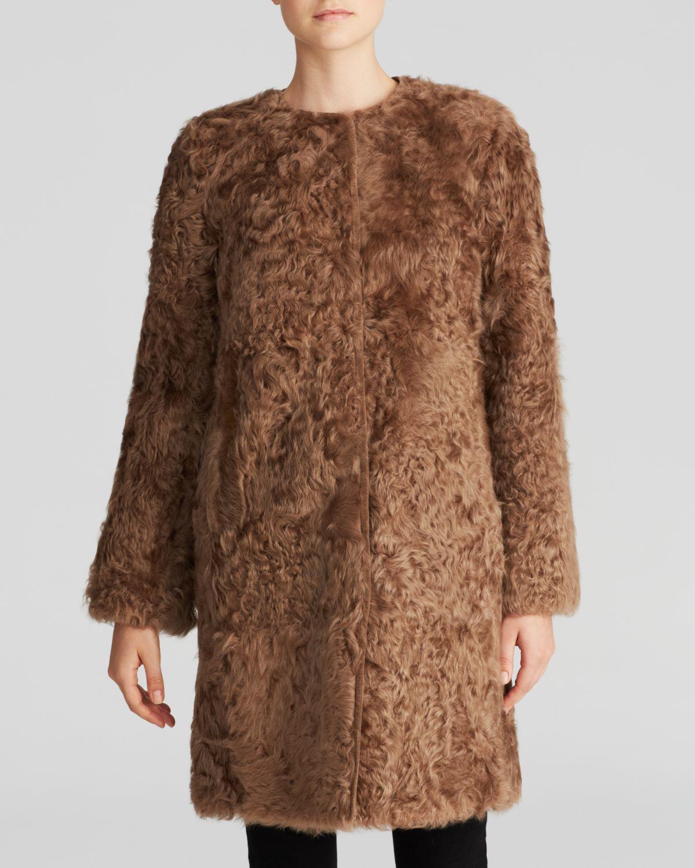 Weekend by maxmara Coat - Nadia Lamb Fur in Brown | Lyst