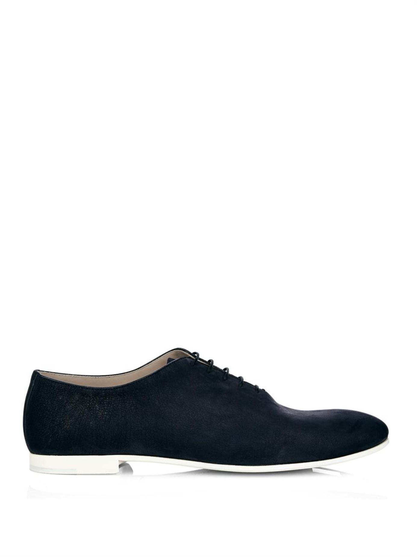 Bottega Veneta Velvet Leather Oxford Shoes In Blue For Men ...