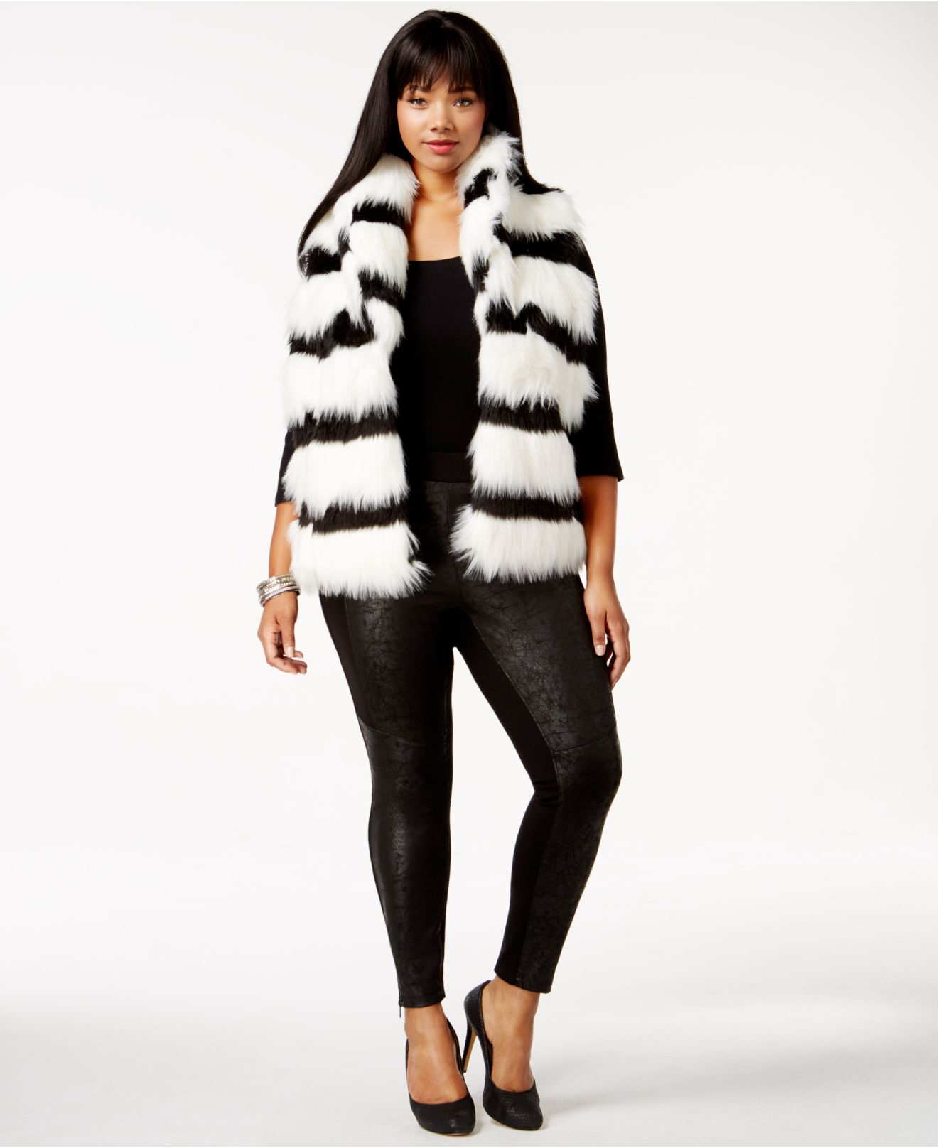 Lyst Jou Jou Plus Size Striped Faux Fur Vest In Black