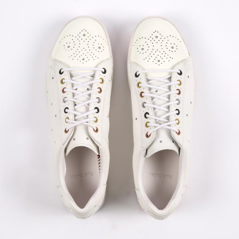 dd2bd800d9a Paul Smith White Leather  Rabbit  Trainers With Mixed Colour Soles ...