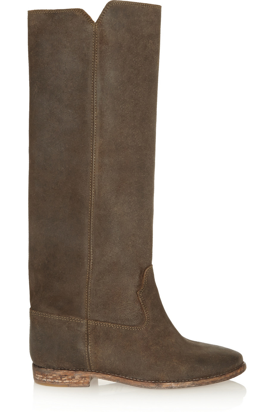 Isabel Marant Cleave Nubuck Wedge Knee Boots in Anthracite (Grey)