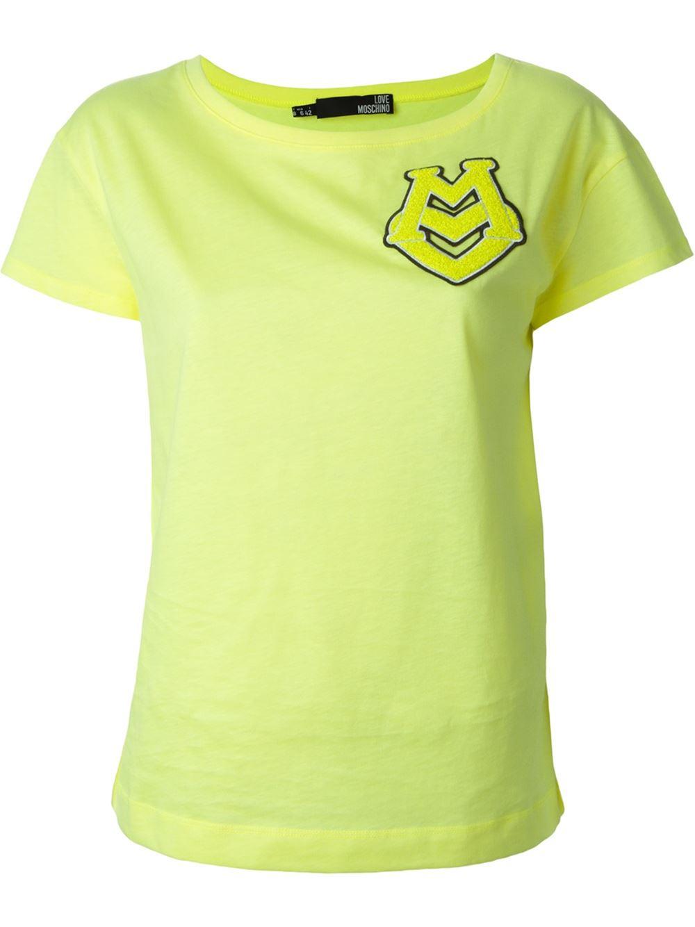 Love Moschino Logo Appliqué T-Shirt in Yellow (yellow ...