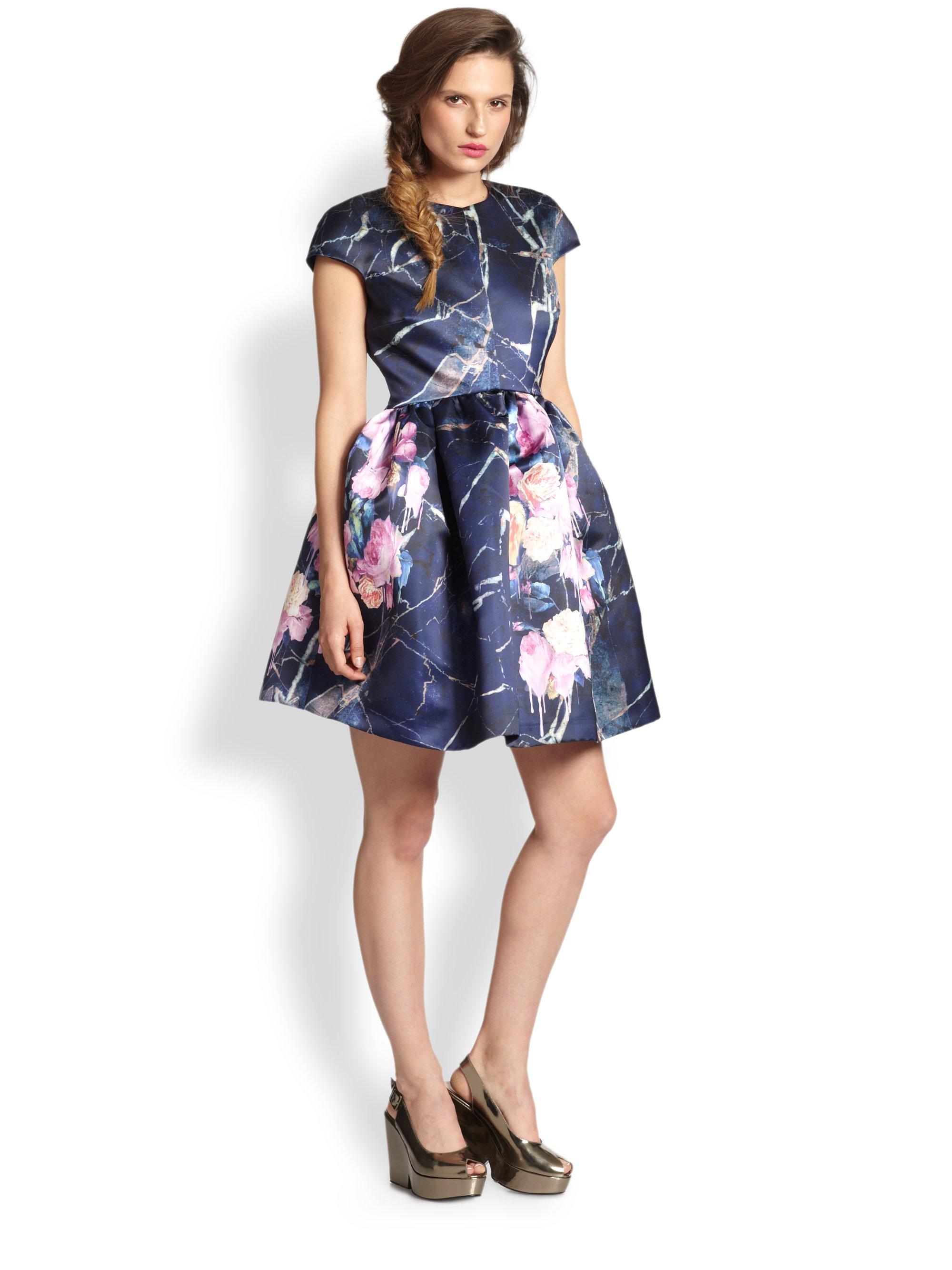 Lyst Msgm Floral Amp Marble Print Satin Full Skirt Dress