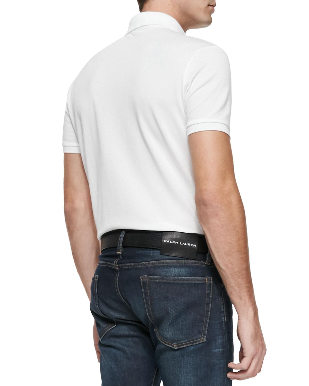 Lyst ralph lauren black label mesh knit polo shirt in for Ralph lauren black label polo shirt