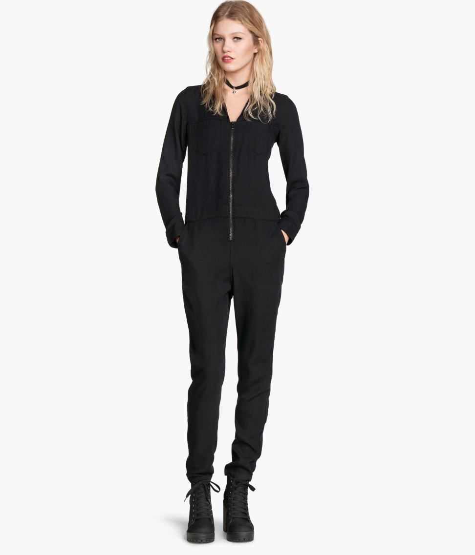 lyst h m lyocell jumpsuit in black. Black Bedroom Furniture Sets. Home Design Ideas