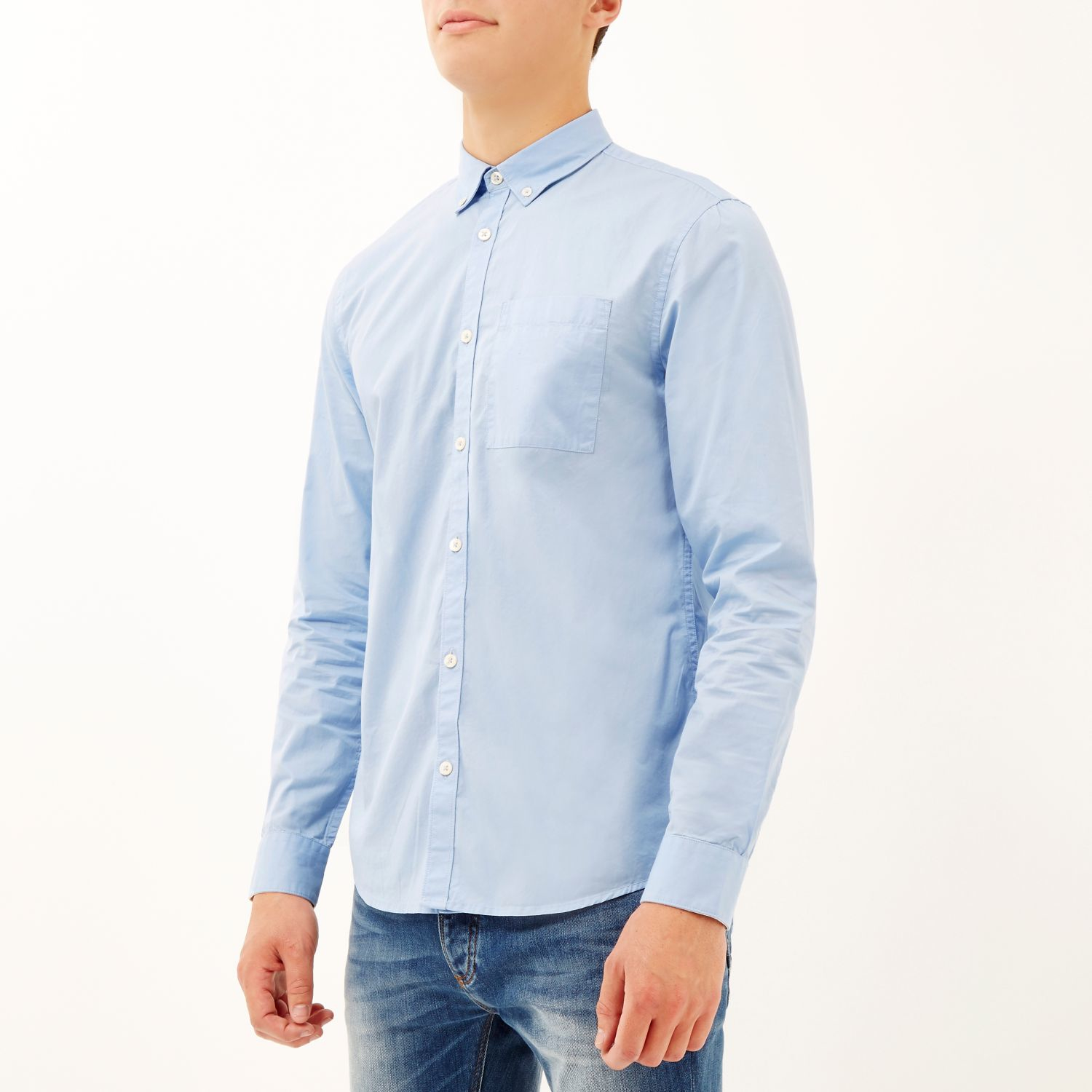 Lyst River Island Blue Twill Button Down Collar Shirt In