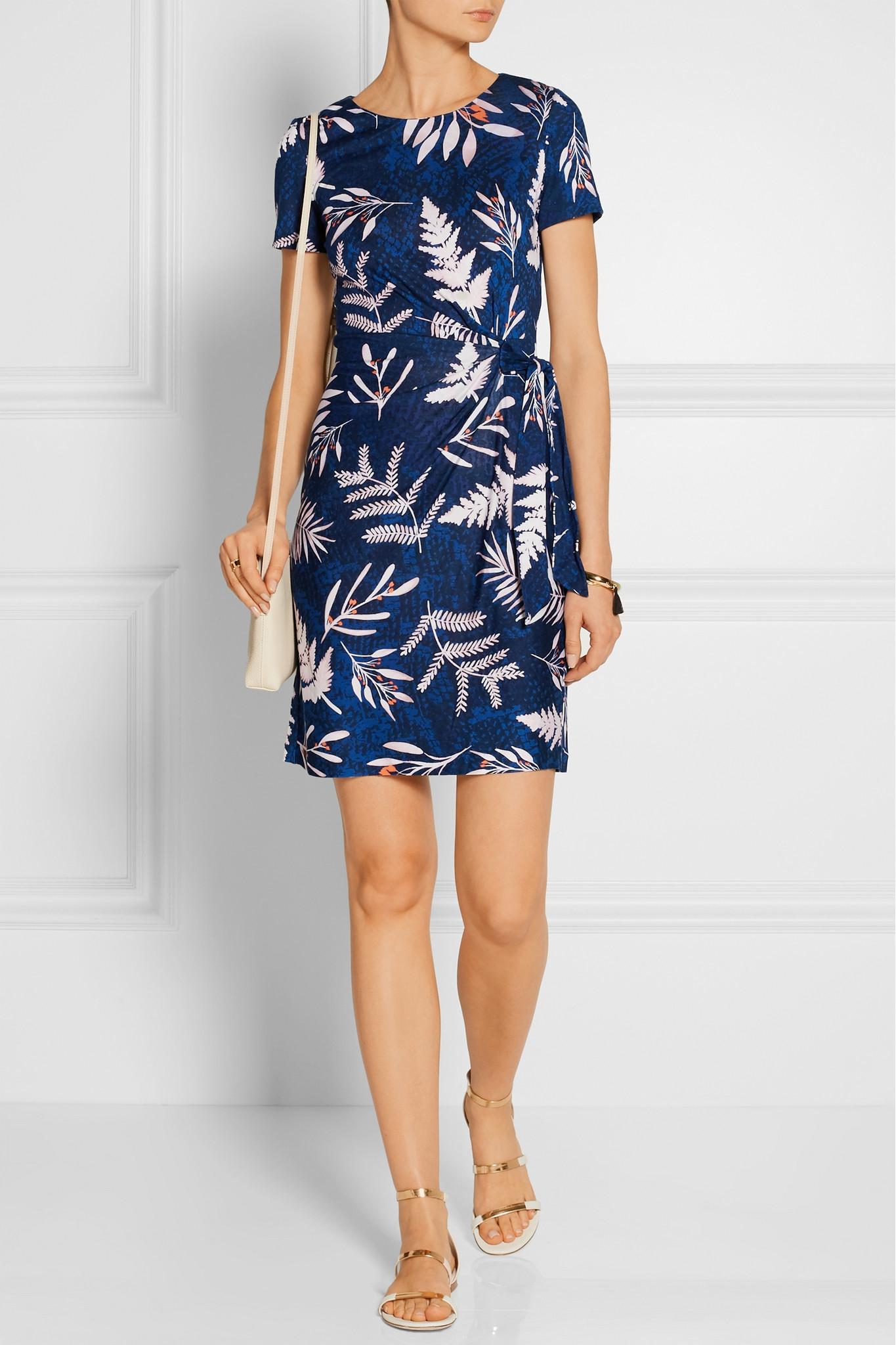Diane von Furstenberg Zoe Printed Silk-jersey Mini Dress in Midnight Blue (Blue)