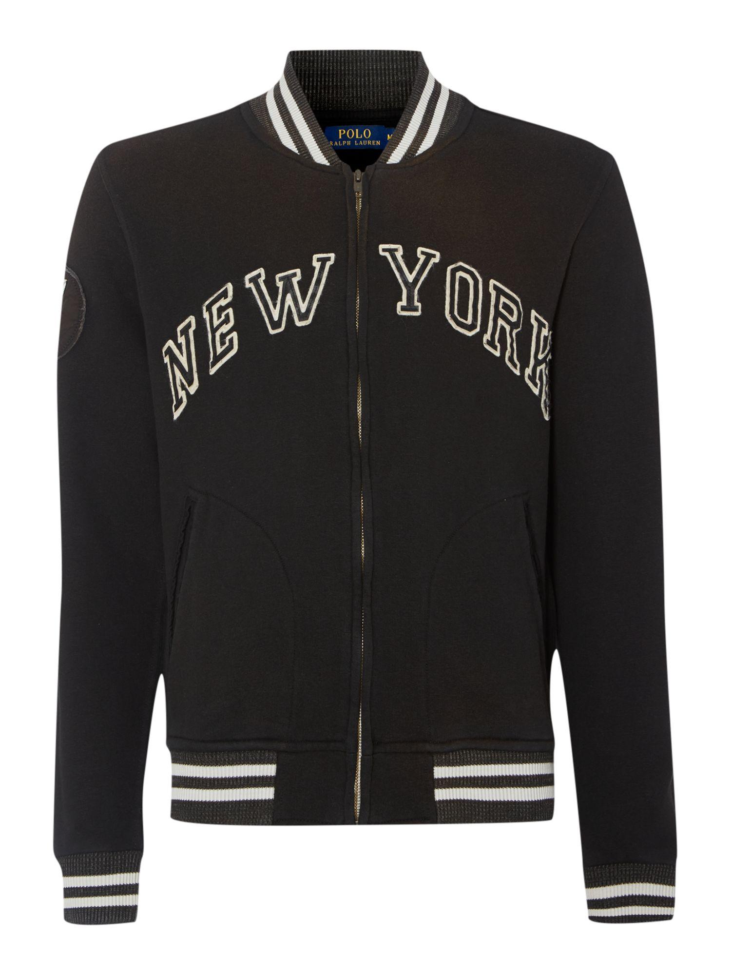 Polo ralph lauren New York Baseball Jacket in Black for Men | Lyst