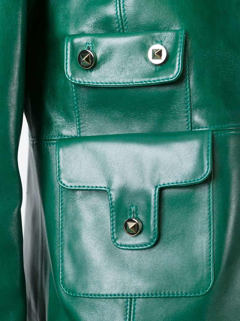 Valentino Pocket Detail Leather Jacket In Green Lyst