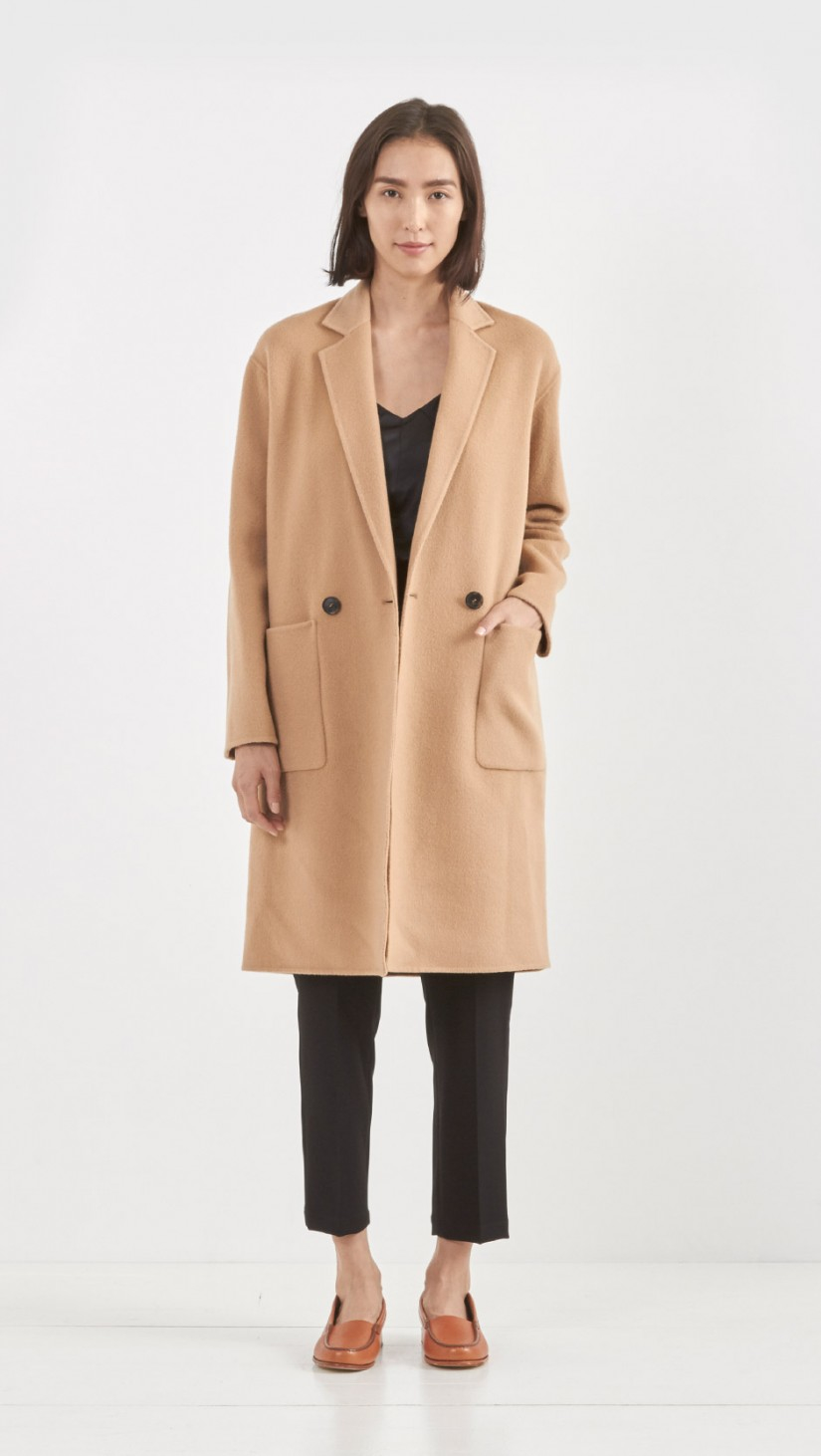 Theory Eletkah Wool Cashmere Coat in Natural | Lyst