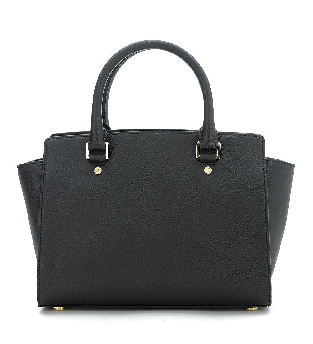 michael kors selma medium handbag in black saffiano. Black Bedroom Furniture Sets. Home Design Ideas