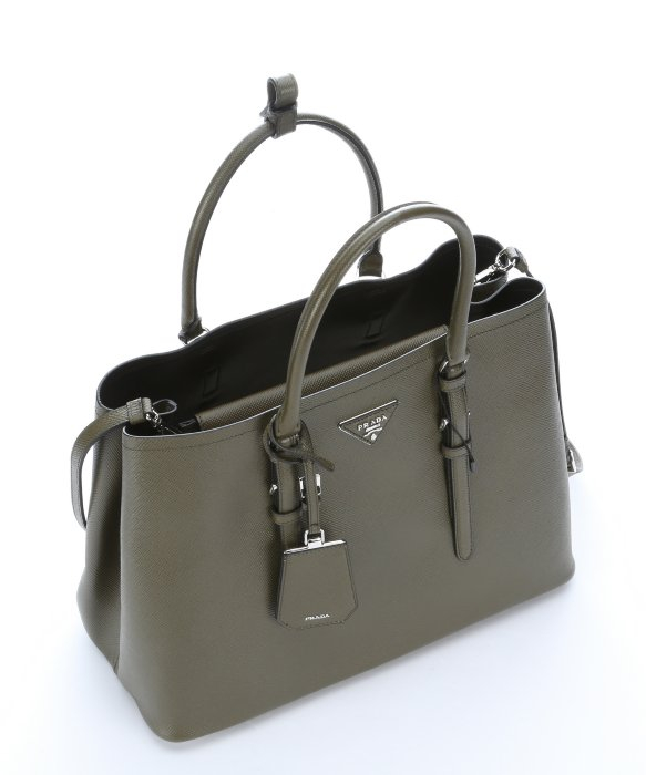 09ba1c94a9e7 ... best price lyst prada military green saffiano leather convertible tote  bag in c9fc1 ac796